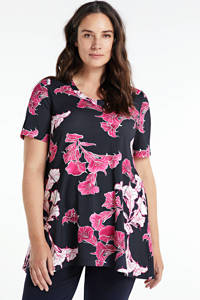PONT NEUF top Riva met all over print zwart/roze, Zwart/roze