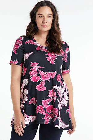 top Riva met all over print zwart/roze