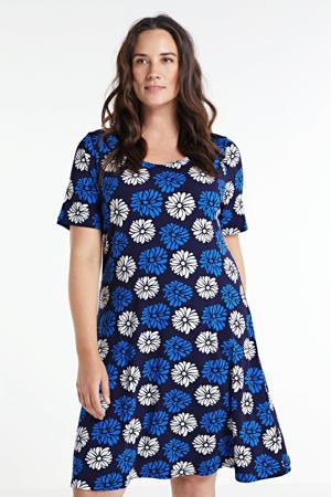 jurk Poulina met stippen blauw/zwart/wit