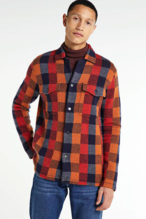 geruit jack met wol oranje/rood/blauw