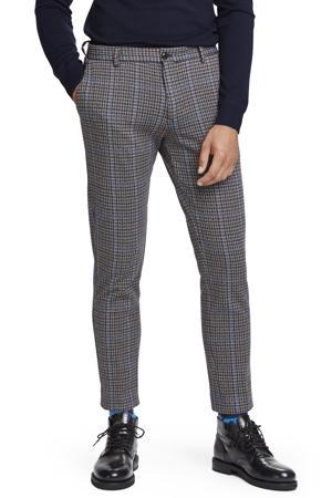 Mott geruite regular fit pantalon grijs/blauw
