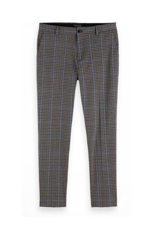 geruite regular fit pantalon grijs/blauw