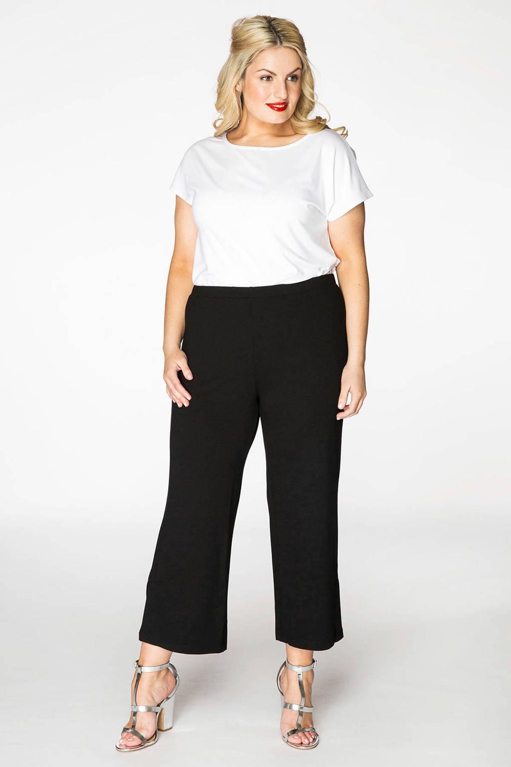 Yoek cropped high waist loose fit broek zwart, Zwart