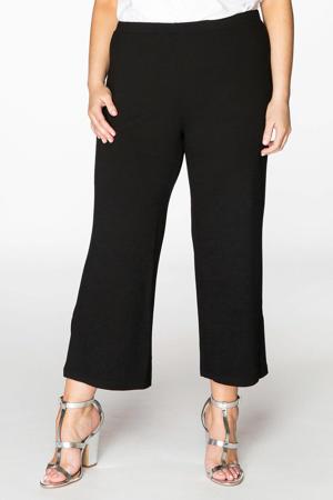 cropped high waist loose fit broek zwart