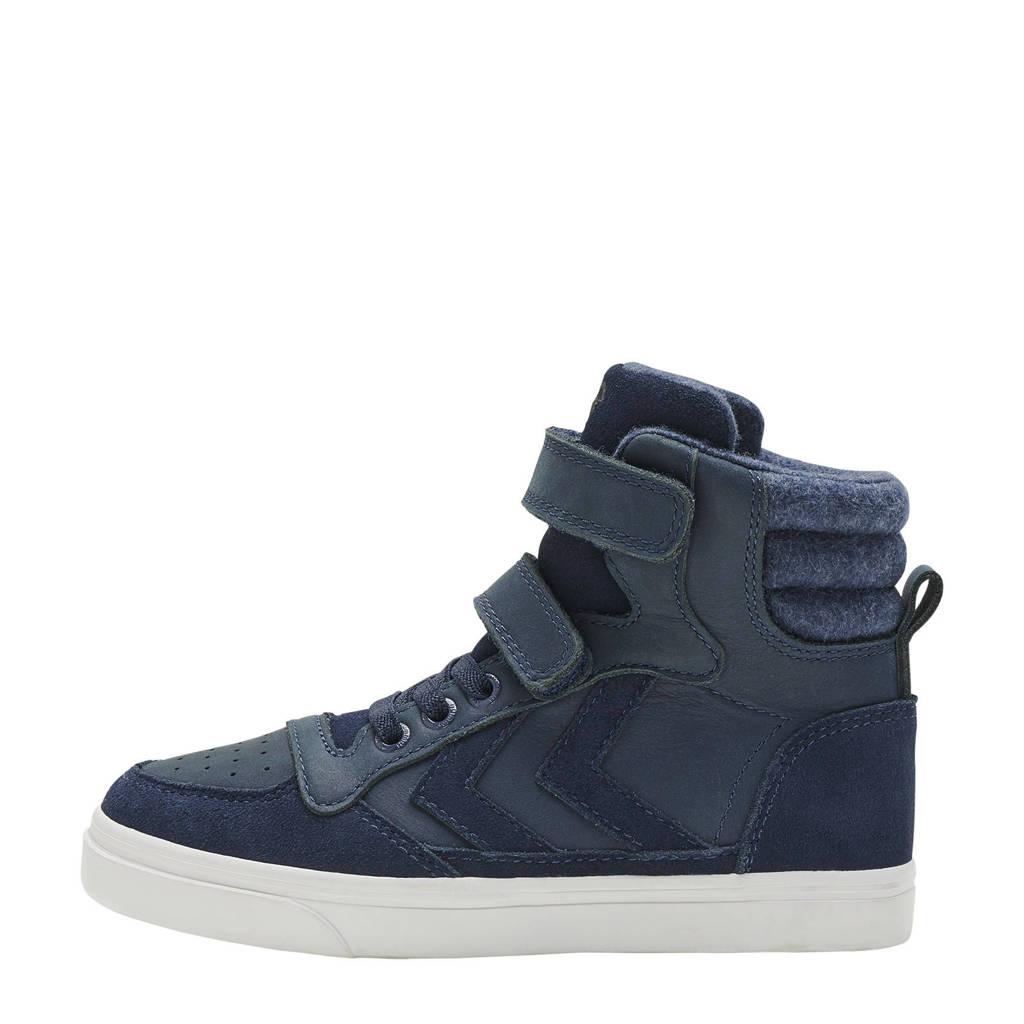 hummel Stadil Winter Jr  suede met leren sneakers donkerblauw, Donkerblauw