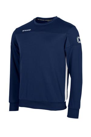 voetbalsweater donkerblauw/wit