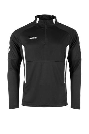 Senior  sportsweater Authentic 1/4 Zip zwart/wit