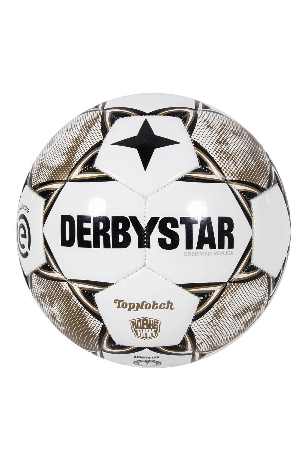 Derbystar   voetbal wit/goud maat 5, Wit/goud