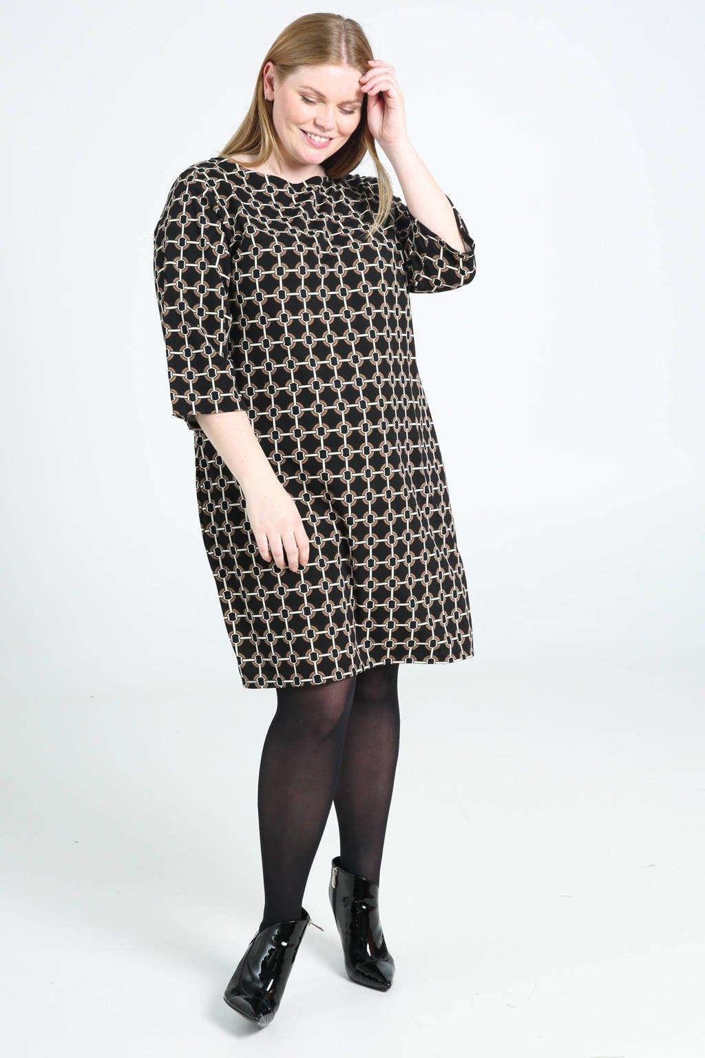 Paprika jurk met all over print zwart/bruin/wit, Zwart/bruin/wit