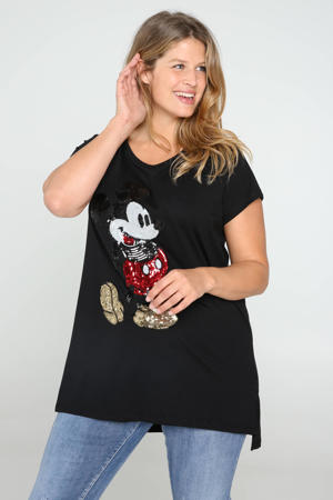 Mickey Mouse T-shirt met printopdruk en pailletten zwart/rood/goud