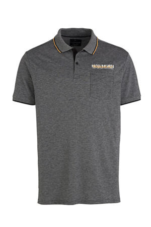 gemêleerde regular fit polo zwart