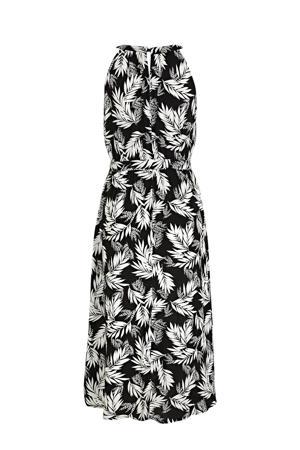 halter jurk met all over print en plooien zwart/wit