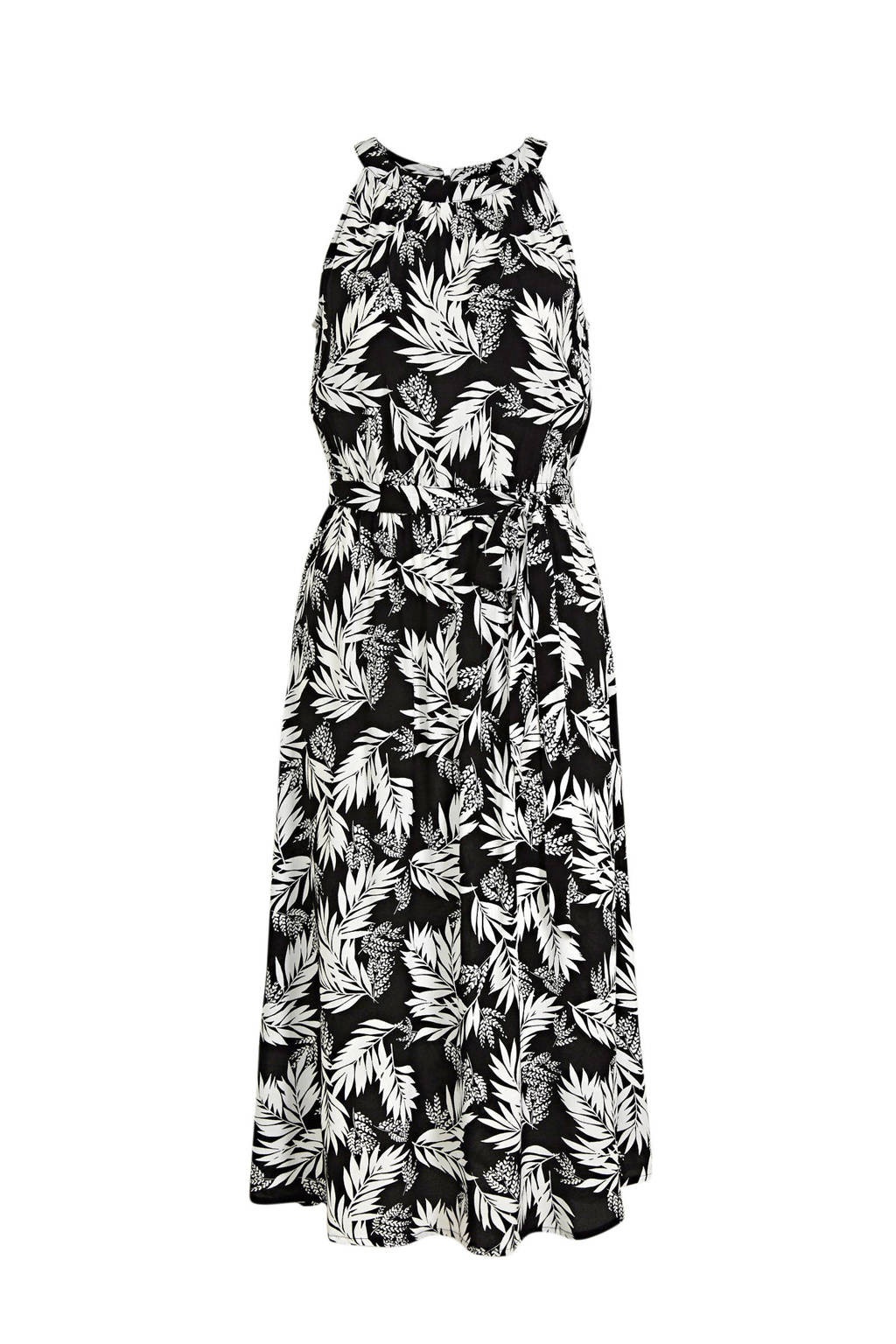 C&A Yessica halter jurk met all over print en plooien zwart/wit, Zwart/wit