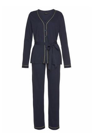 pyjama met contrastbies donkerblauw