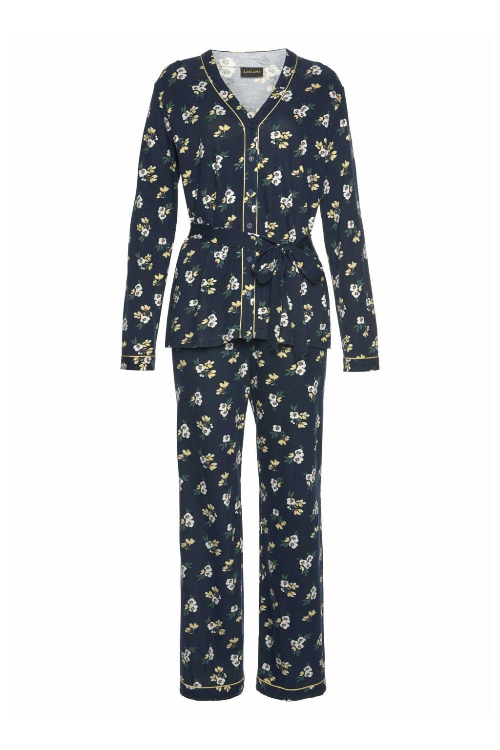 Lascana gebloemde pyjama donkerblauw, Donkerblauw