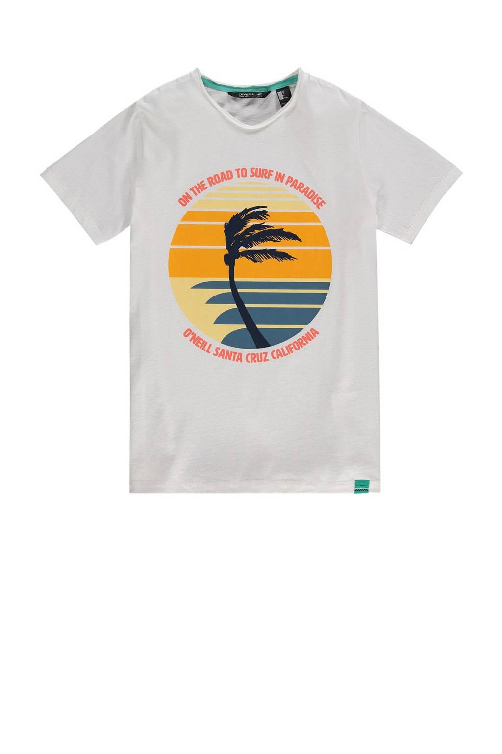 O'Neill T-shirt Palm Print grijs melange, Grijs melange