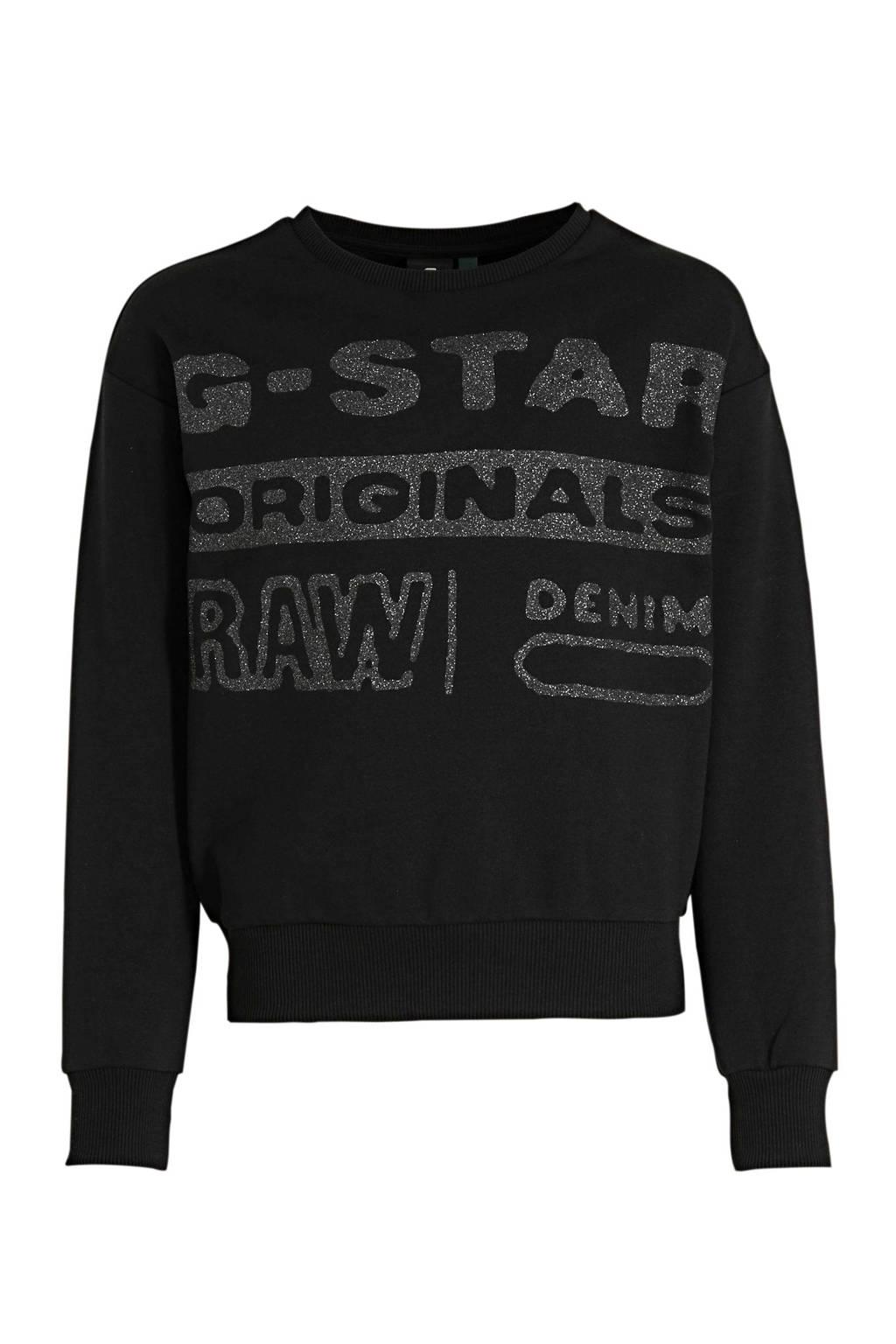 G-Star RAW sweater met logo zwart, Zwart