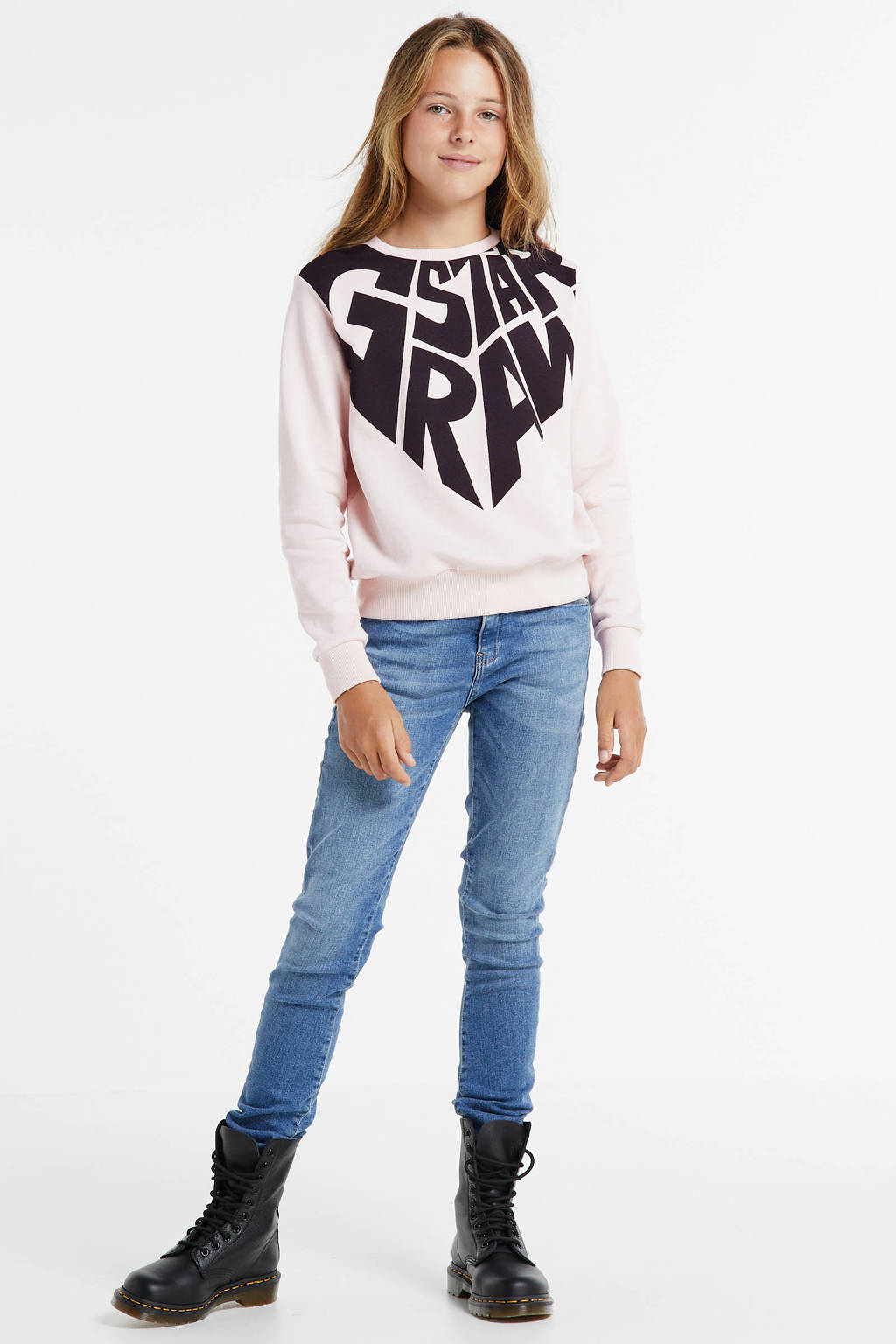 G-Star RAW sweater met logo pastelroze/donkerblauw, Pastelroze/donkerblauw