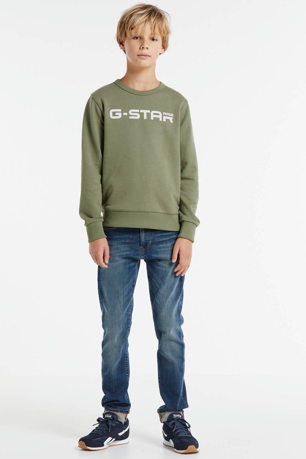 G-Star RAW sweater Hodin met logo kaki groen, Kaki groen