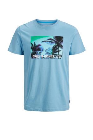 T-shirt met printopdruk lichtblauw