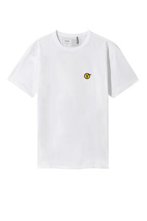 T-shirt wit/zwart/geel