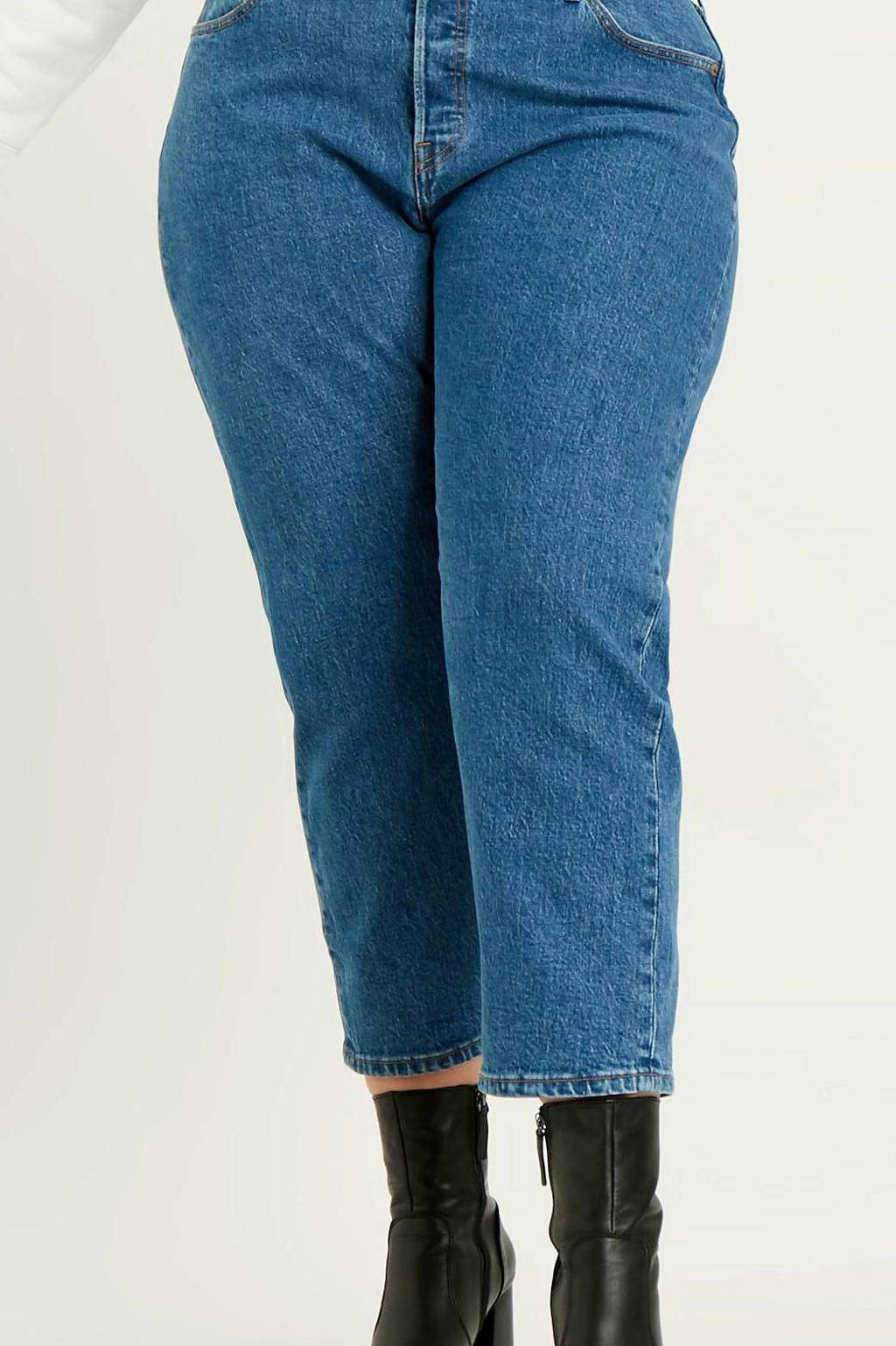 Levi's Plus 501 cropped mom jeans blauw, Blauw