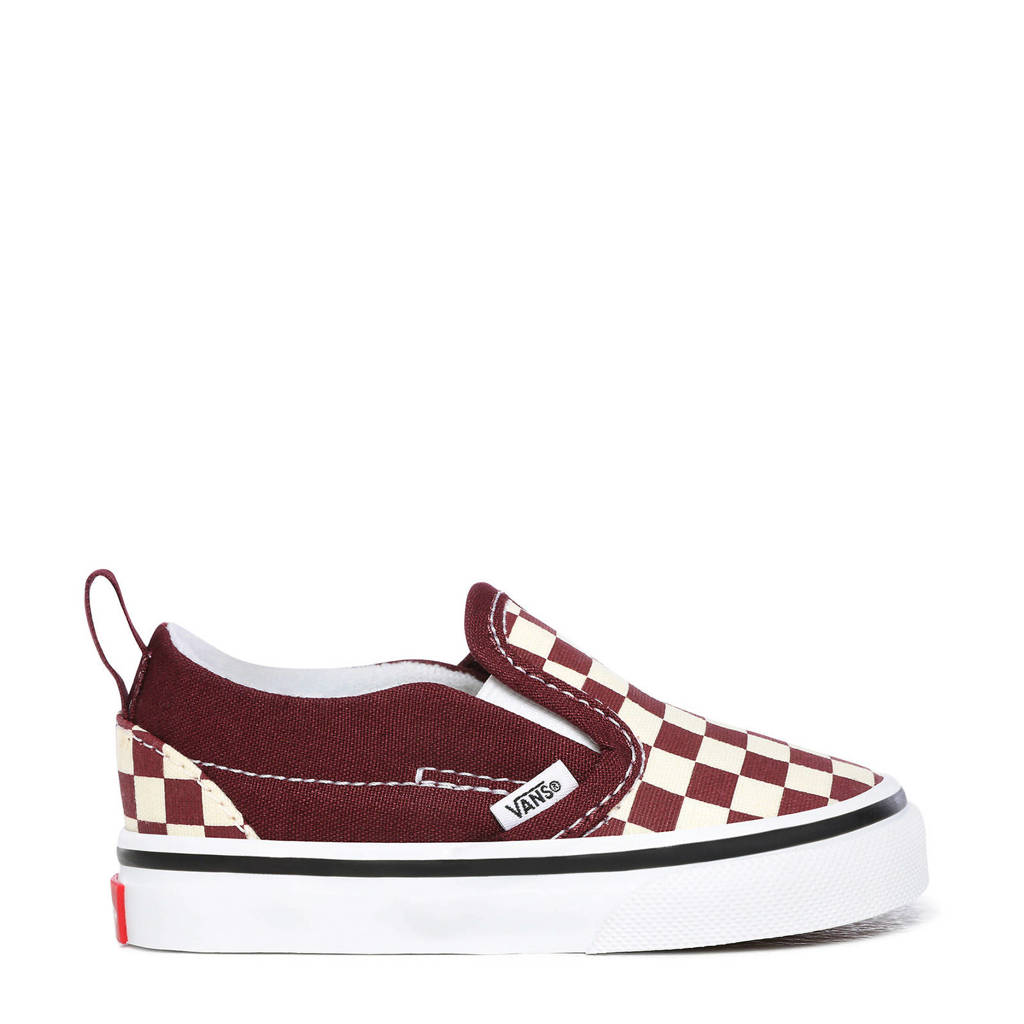 VANS Slip-On V Checkerboard sneakers donkerrood/wit, Donkerrood/wit