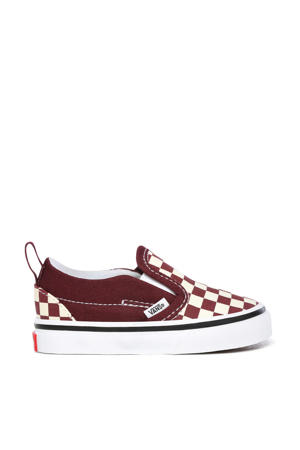 Slip-On V Checkerboard sneakers donkerrood/wit