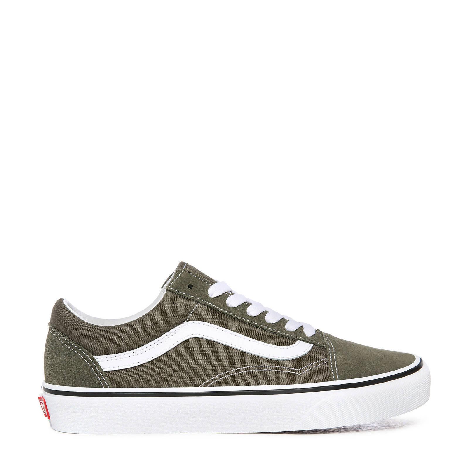 Old Skool sneakers olijfgroen/wit