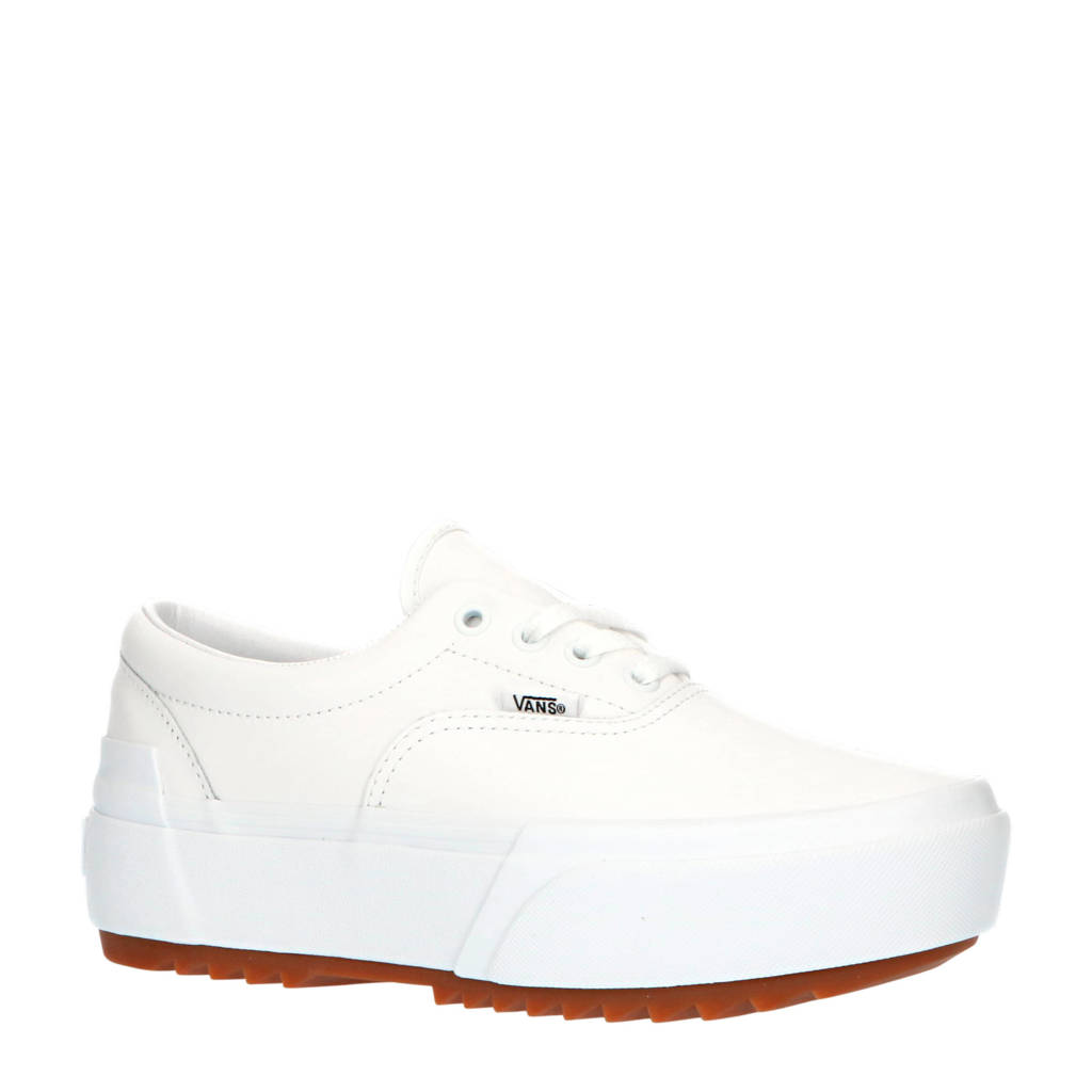 VANS Era Stacked suède plateau sneakers wit, Wit