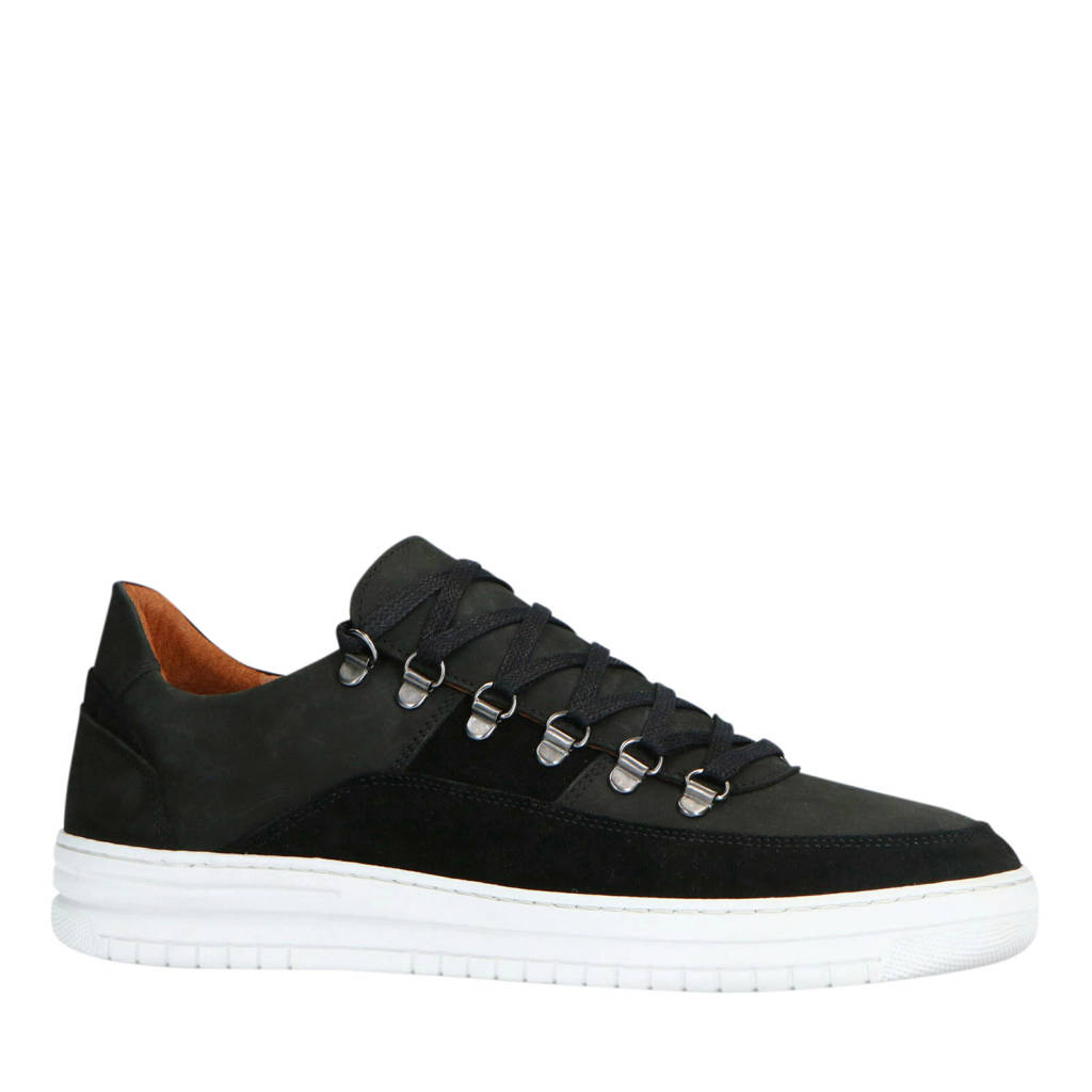 Manfield   suède sneakers zwart, Zwart