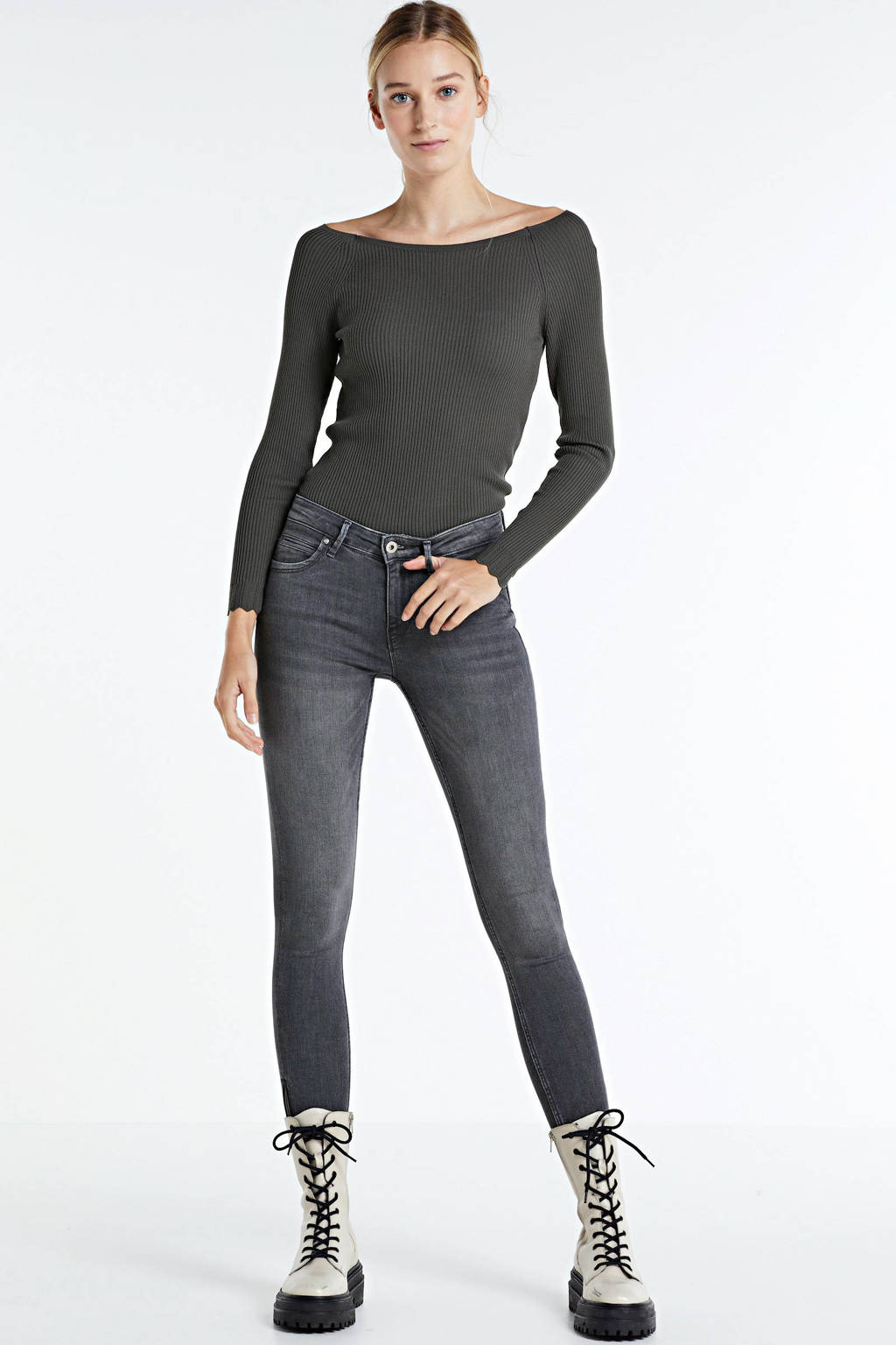 ONLY high waist skinny jeans Kendell grijs, Grijs