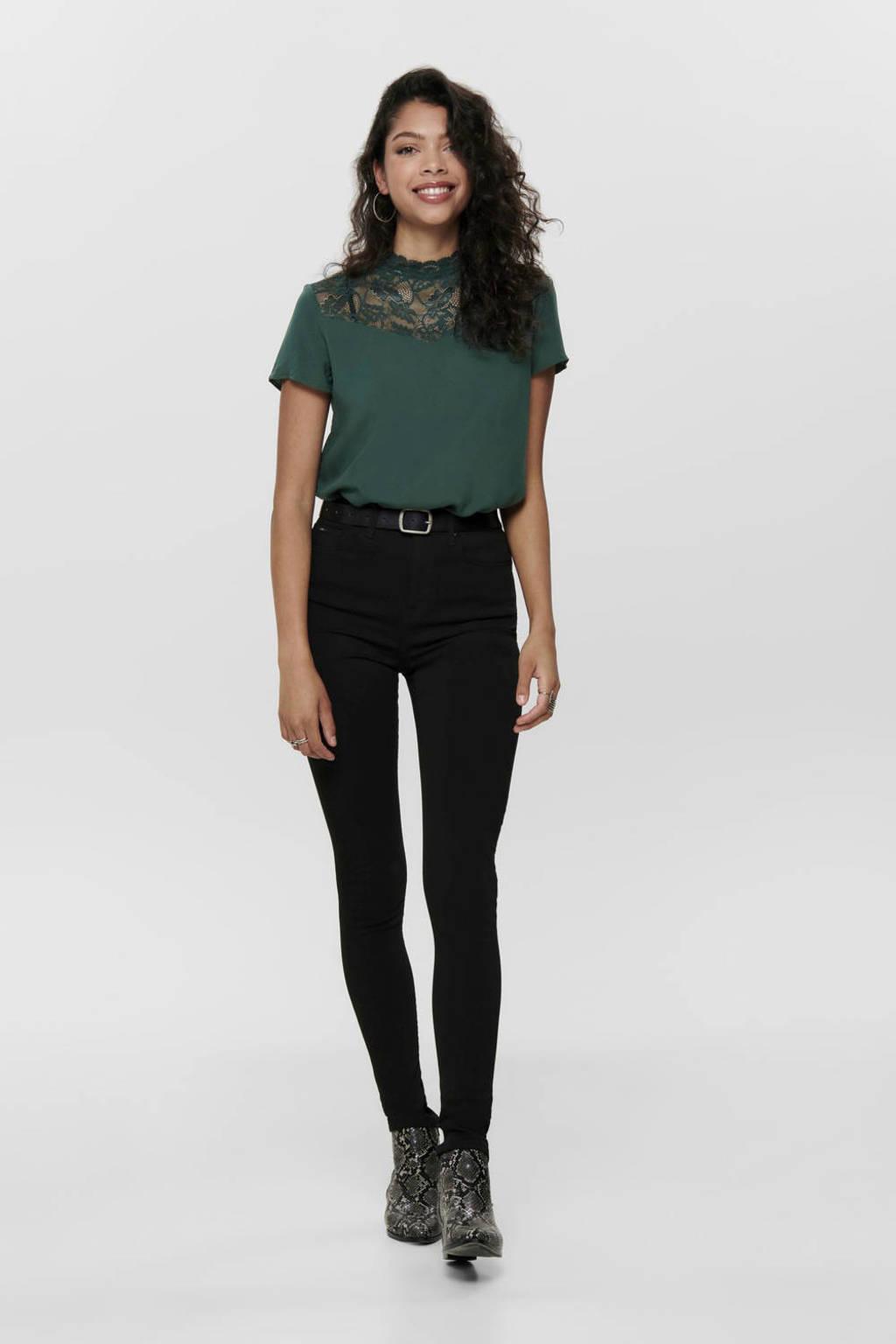 ONLY high waist skinny jeans zwart, Zwart