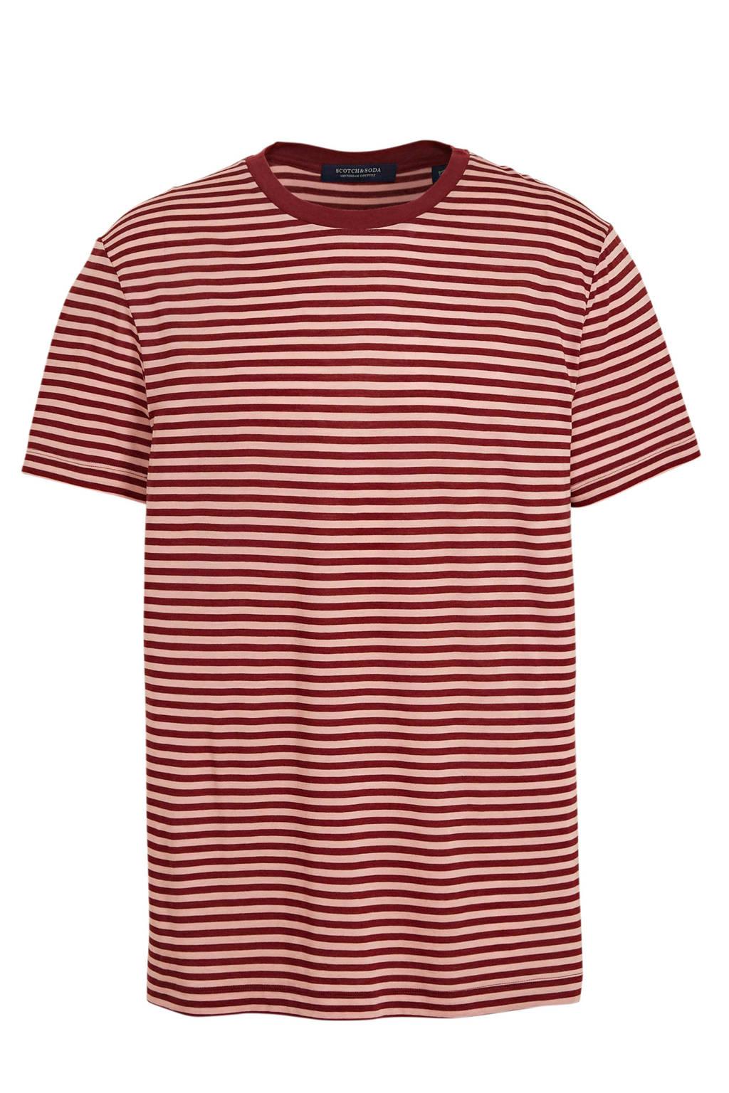 Scotch & Soda gestreept T-shirt rood/roze, Rood/roze