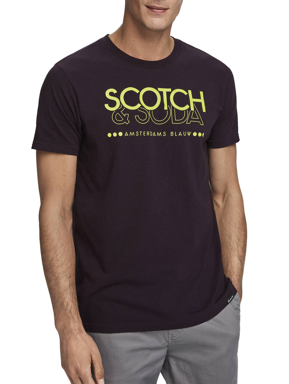 Scotch & Soda T-shirt met printopdruk aubergine, Aubergine