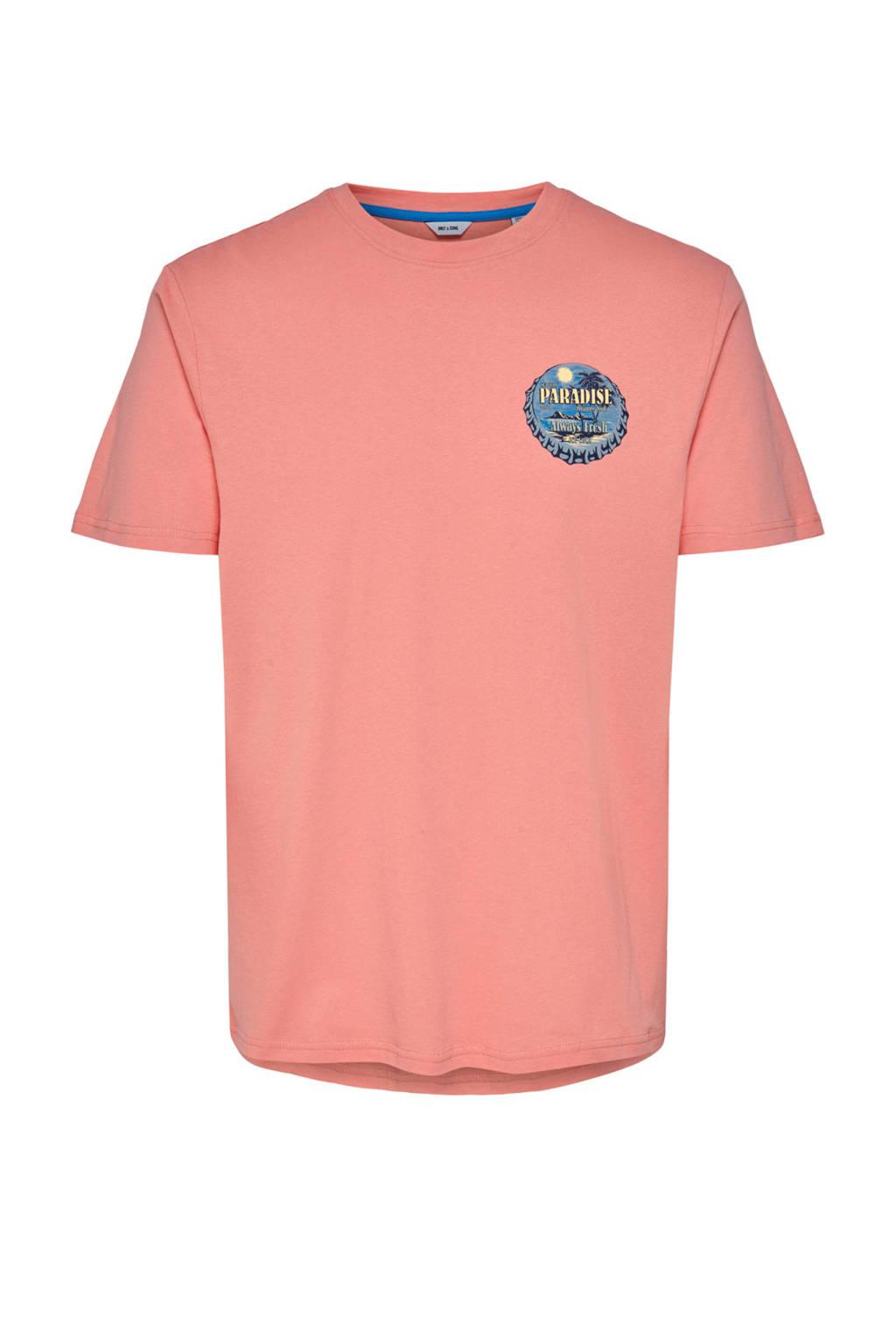 ONLY & SONS T-shirt met printopdruk zalm, Zalm