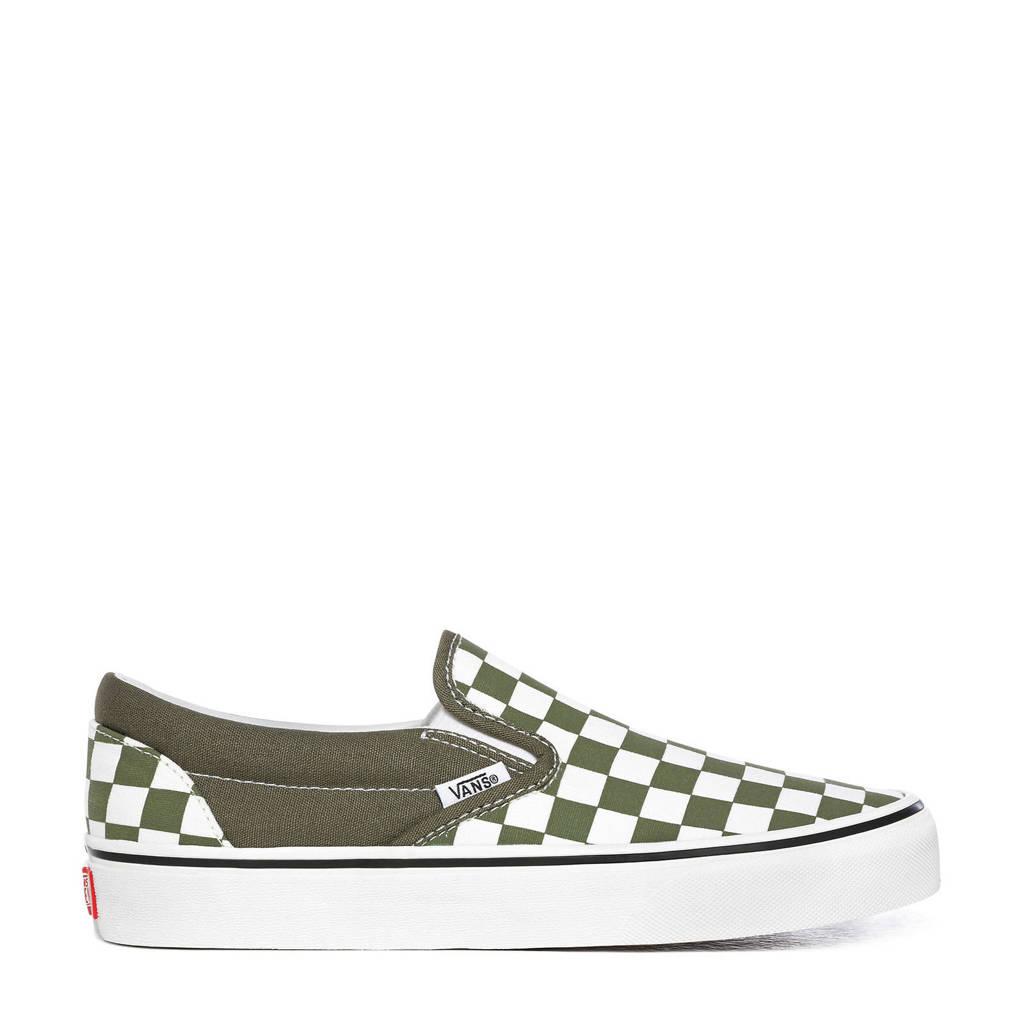 VANS  Classic Slip-on sneakers met ruitmotief groen/wit, Groen/wit
