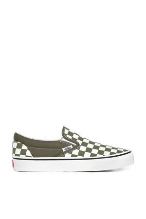 Classic Slip-on sneakers met ruitmotief groen/wit