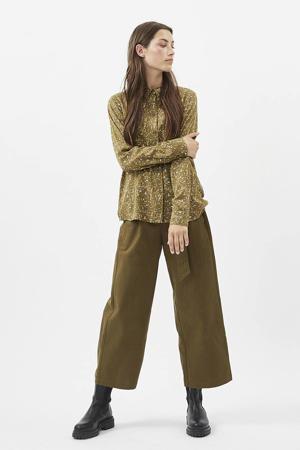 blouse Kesia met all over print olijfgroen