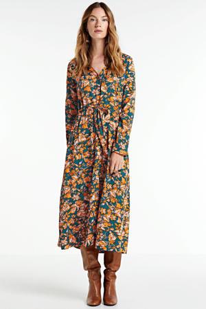 gebloemde jurk Altea grijsblauw/ geel