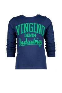 Vingino longsleeve Jadir met logo donkerblauw/groen, Donkerblauw/groen