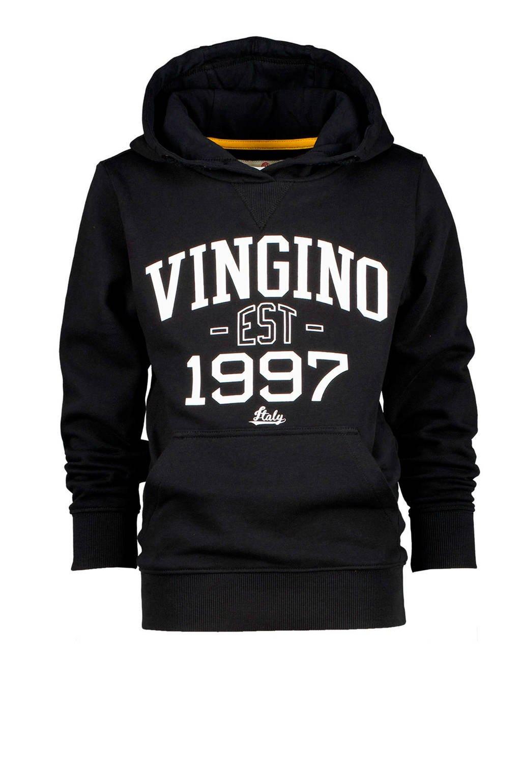 Vingino hoodie Nonko met logo zwart/wit, Zwart/wit
