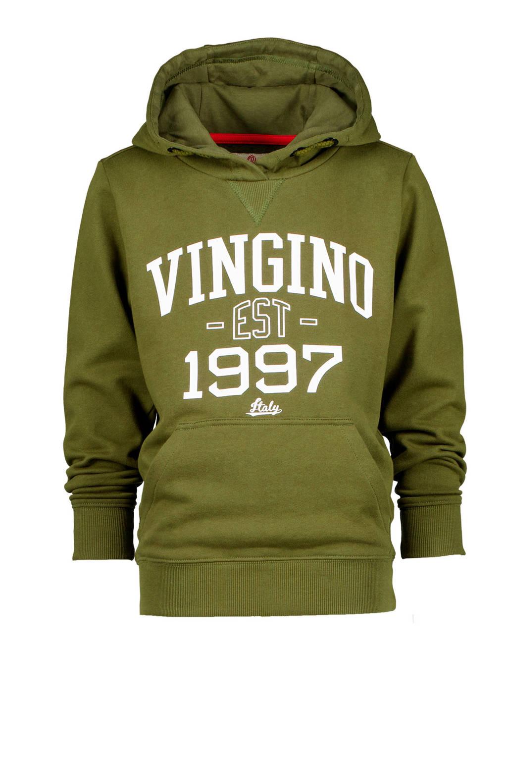 Vingino hoodie Nonko met logo olijfgroen, Olijfgroen