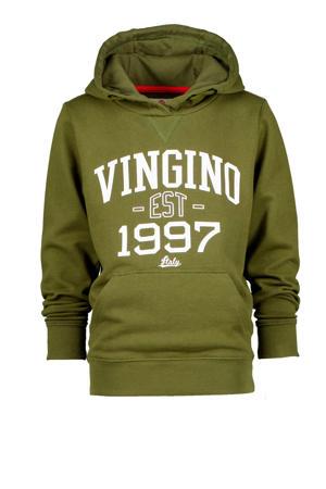 hoodie Nonko met logo olijfgroen