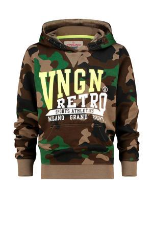 hoodie Nape met camouflageprint donkergroen/groen