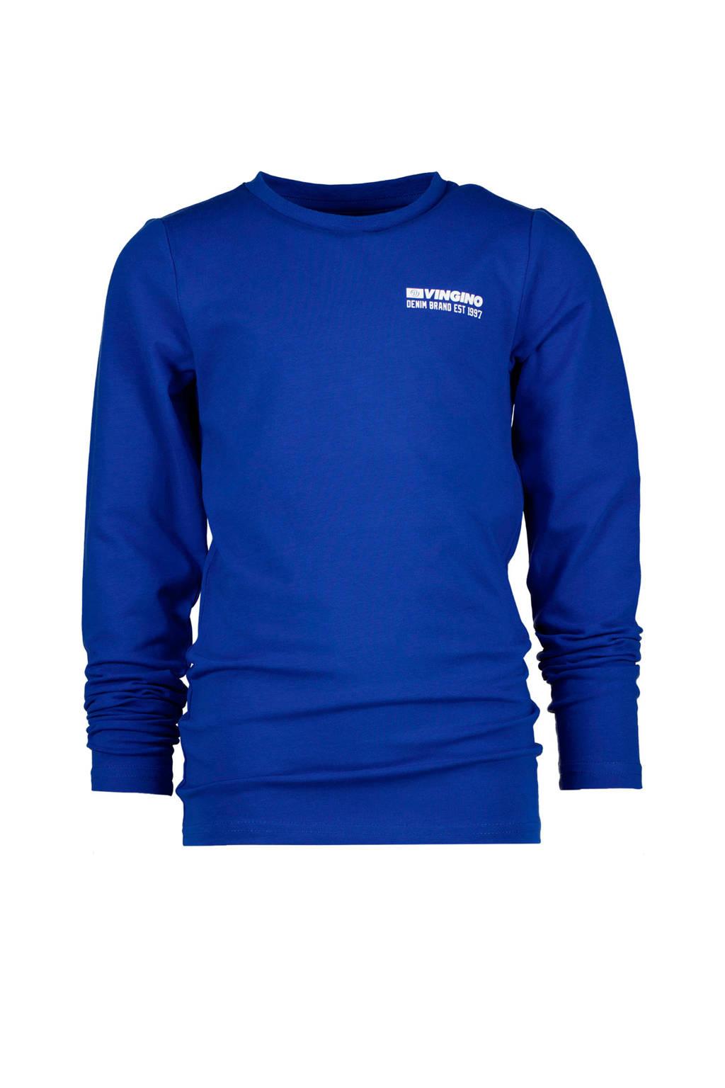 Vingino longsleeve Jefbo met logo hardblauw, Hardblauw