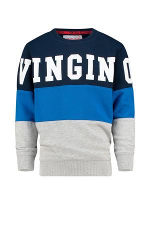 sweater Nices met logo grijs melange/donkerblauw