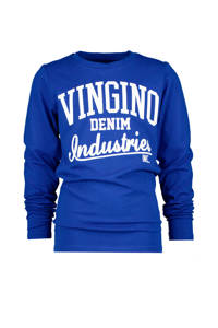 Vingino longsleeve Jadir met logo hardblauw/wit, Hardblauw/wit