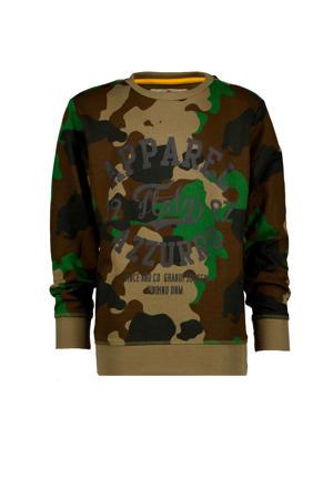 sweater Nozon met camouflageprint donkergroen/bruin