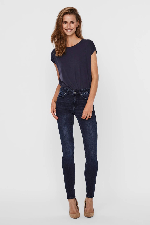 VERO MODA slim fit jeans Ella met biologisch katoen donkerblauw, Donkerblauw